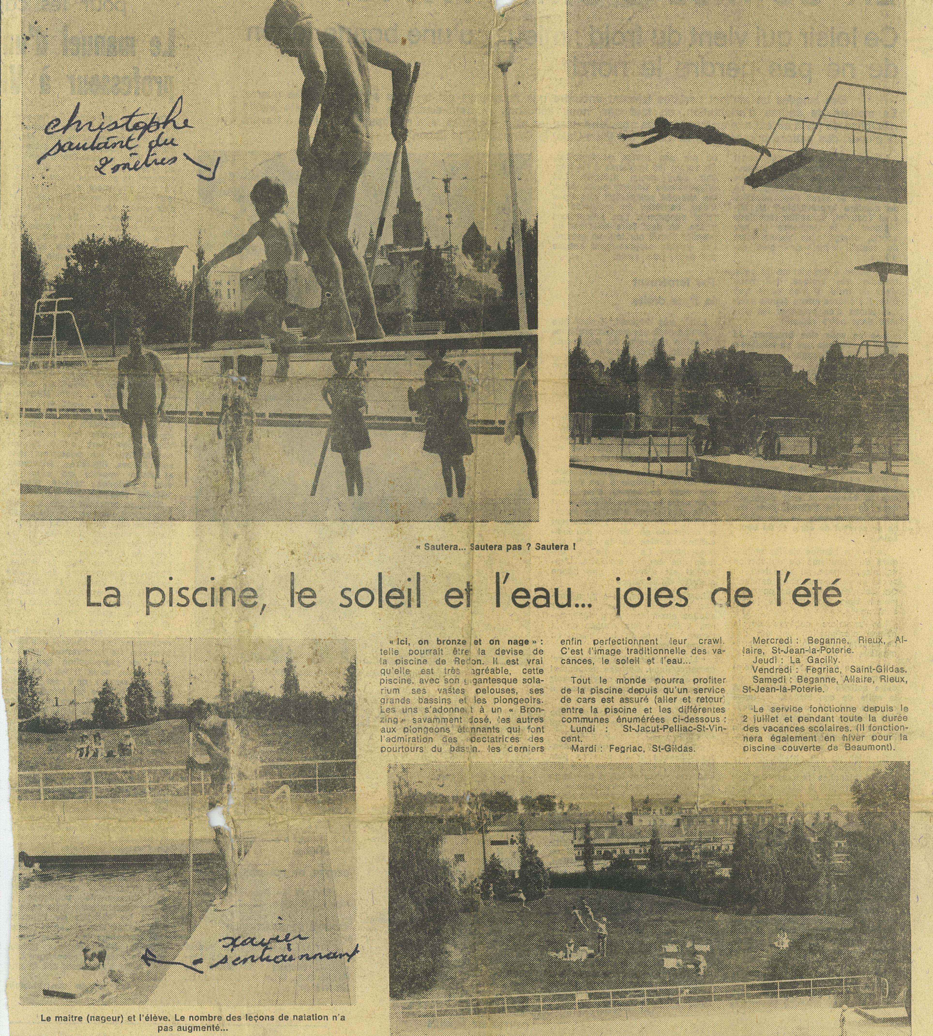 CHRISTOPHE & XAVIER PISCINE DE REDON OUEST FRANCE REDON 11 JUILLET 1973
